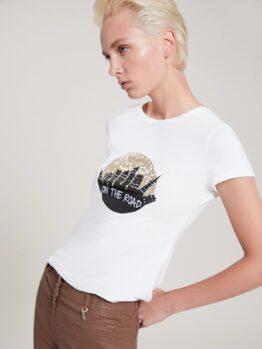 pennyblack T-shirt con ricamo in paillettes articolo torchio